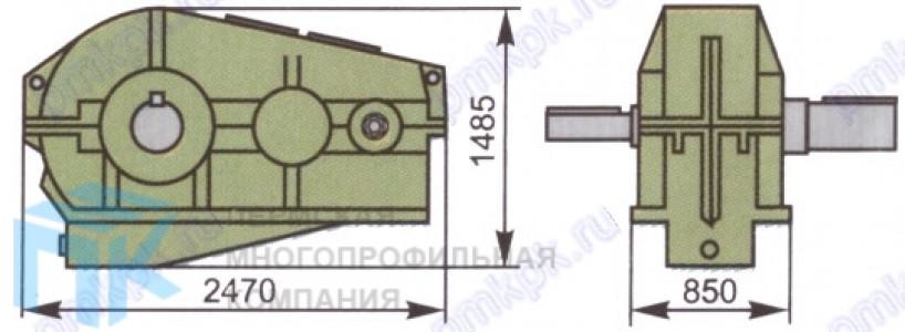 Редуктор цилиндрический двухтупенчатый горизонтальный Ц2-1300