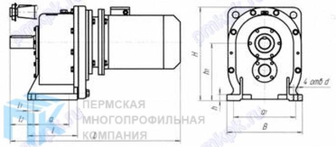 Цилиндрический двухступенчатый мотор-редуктор МЦ2С